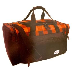 Roots Black and Red Plaid Duffle Bag BNWT